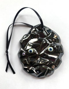 """lump of coal"" , glazed ceramic sculpture ornament with Swaroski crystals"