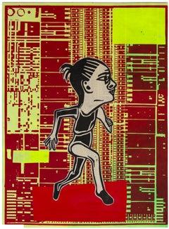 Heart Run, 2019,  unique, print and collage, print on okawara paper