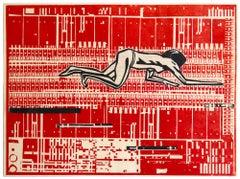 Heart Crawl, 2019, unique, print and collage, print on okawara paper
