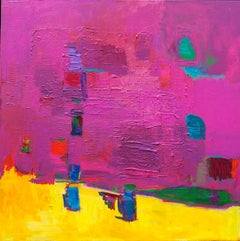 """Orchard Chance""  Bright pink color abstract painting w/ painterly brushstrokes"
