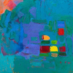 """""""Vergier D'Aix"""" Large square abstract aqua painting with lush brushstrokes"""
