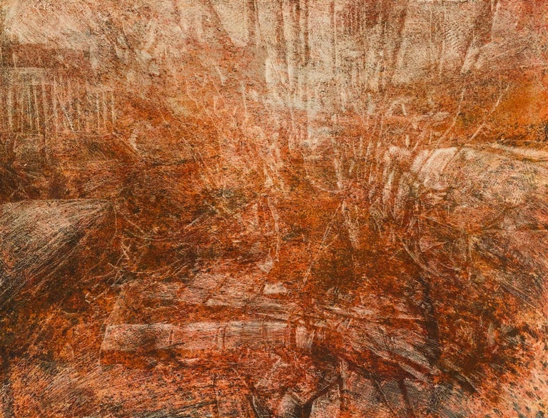 """Augustus Cross Landscape Painting - """"Untitled - Tree Series"""" Sienna and orange textured surface with ghost  images"""