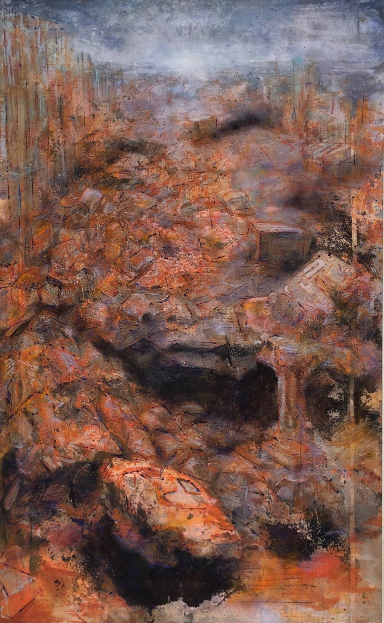 """Augustus Cross Landscape Painting - """"Untitled from the Trash Series"""" Post disaster image of orange urban dystopia"""
