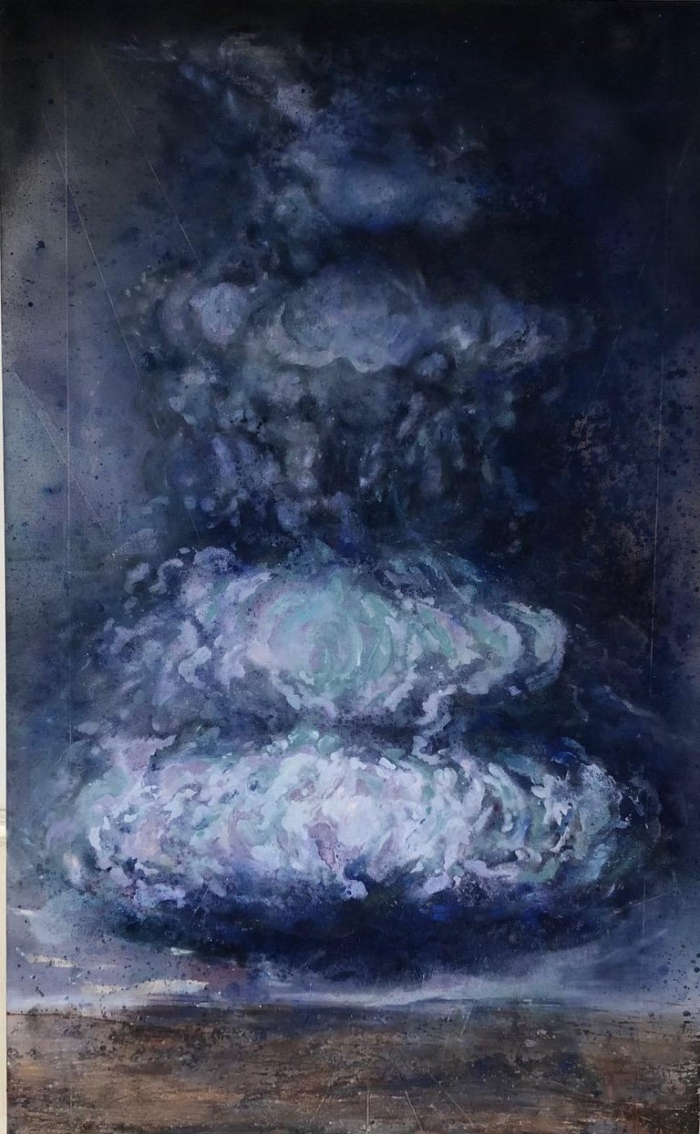 "Augustus Cross Abstract Painting - ""Storm - from the Disaster Series"" Climate explored with blue and royal cloud"