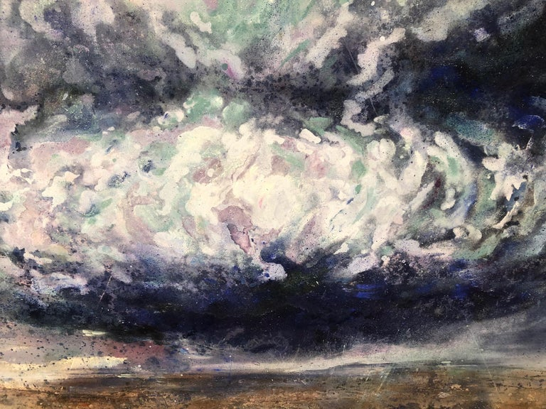 This artist a recent MFA graduate from Columbia University, is working on a series exploring climate change and the powerful storms created by the rising temperatures. This vertical painting's blue and royal blue and navy watery cloud is floating