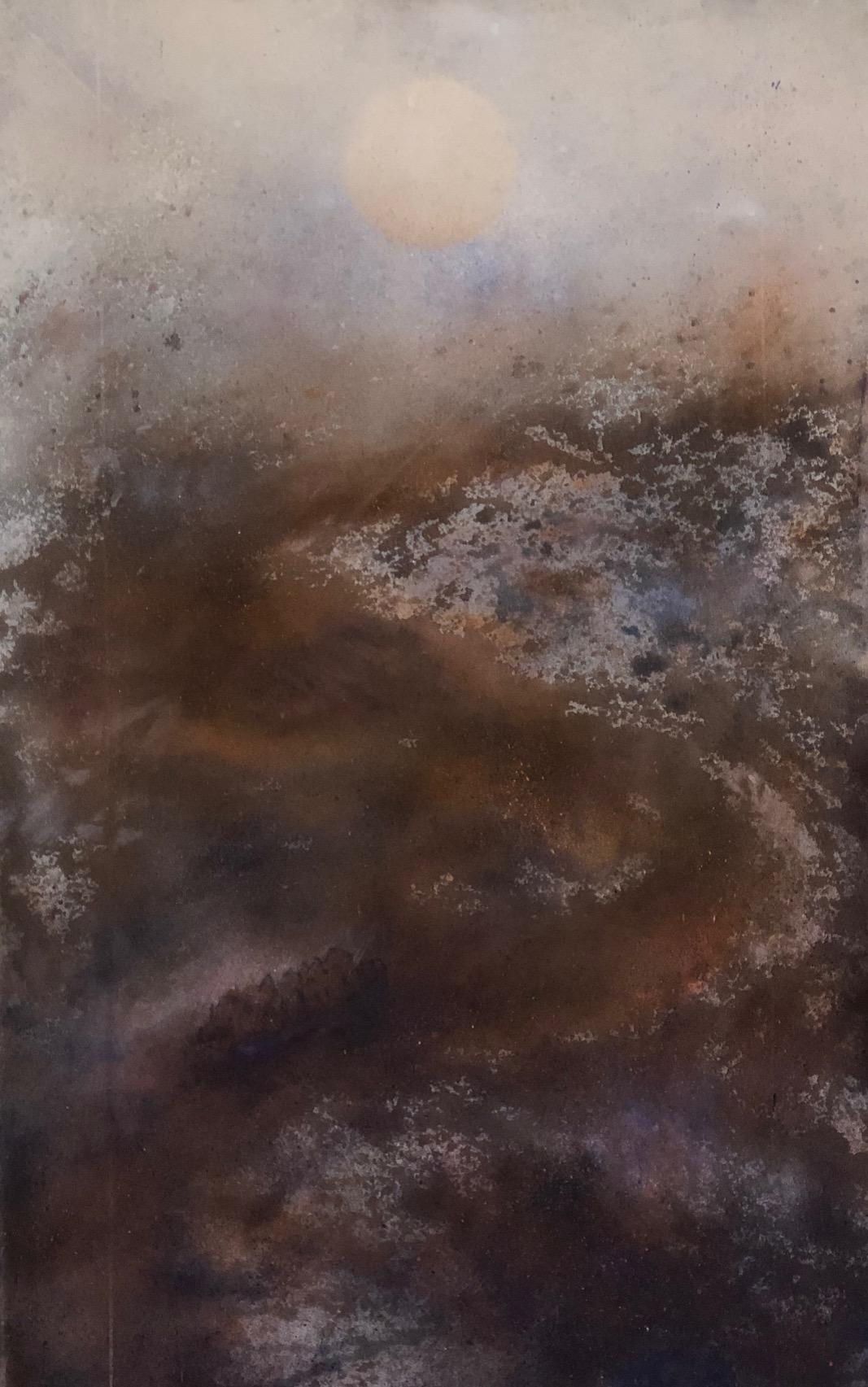 """""""Migrants"""" from the Disaster Series, washy browns and lavender on raw canvas"""