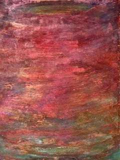 """Untitled - pink combed"" Pink Aqua colorful textured painting for grid or solo"