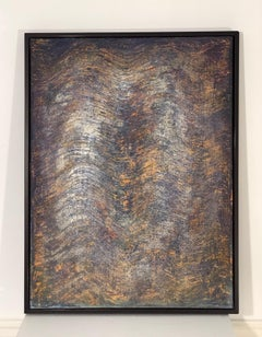 """""""Untitled """" textured combed painting with layers of colors w gold blue and ochre"""