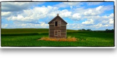 """""""Everts Homestead, MN -clouds"""" colorful panoramic prairie view with house"""