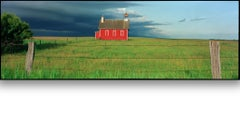 """""""Everts Township Schoolhouse - storm"""" Panoramic view of prairie school in storm"""