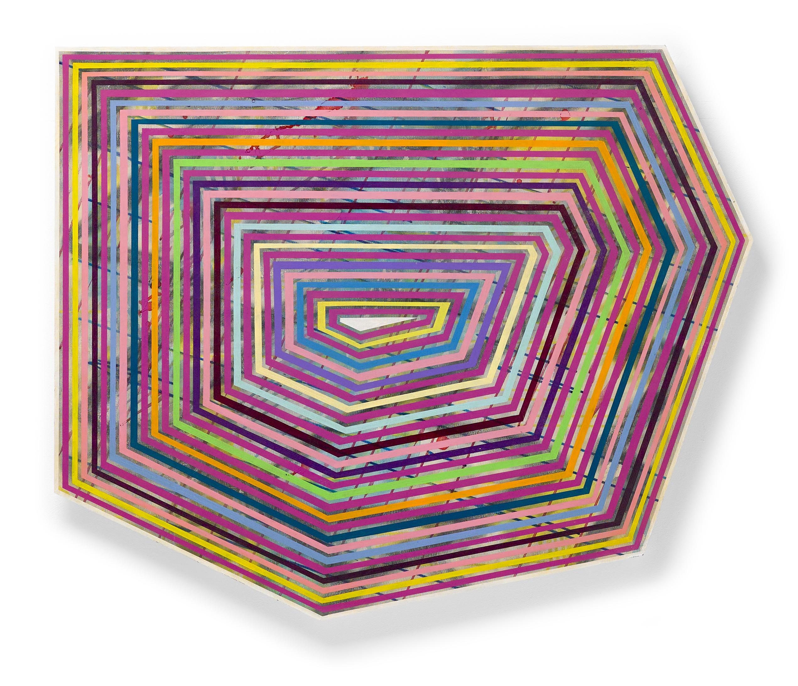 """""""Panolin"""" Colorful, striped geometric shaped painting bold fuchsia with shellac"""