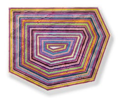 """Panolin"" Colorful, striped geometric shaped painting bold fuchsia with shellac"