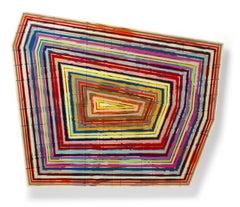 """Noringatt"" Colorful bold shaped striped geometric glossy painting on panel"