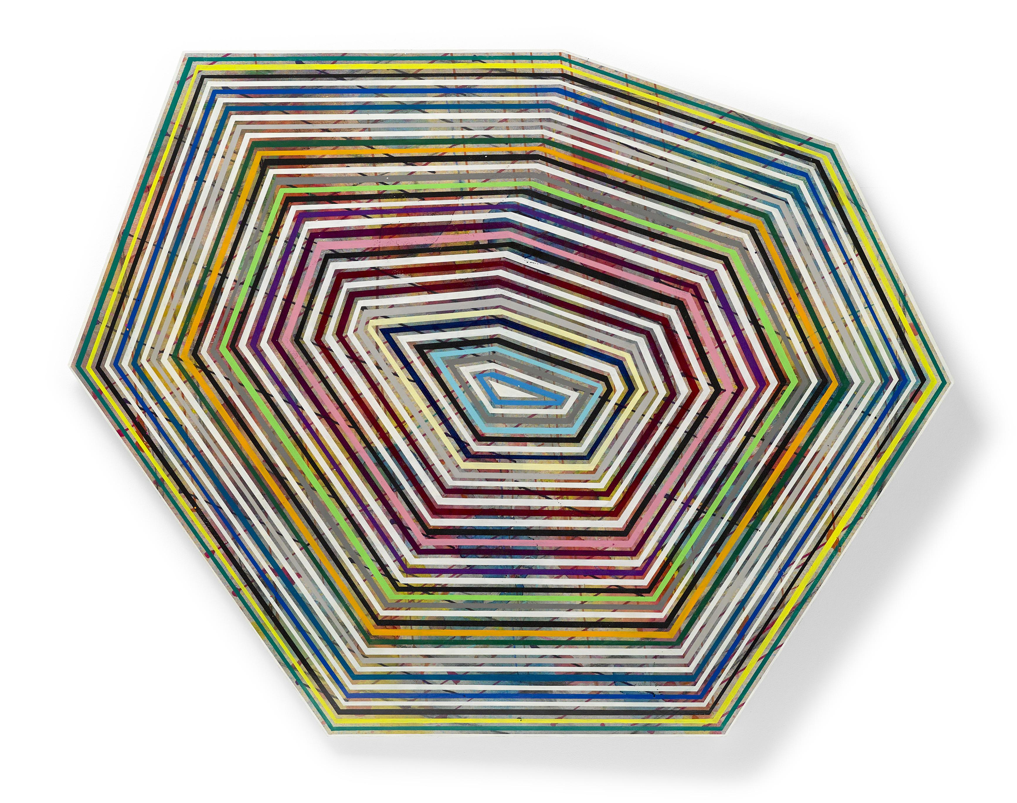 """""""Timik"""" Concentric lines of bold color of geometric stripes"""