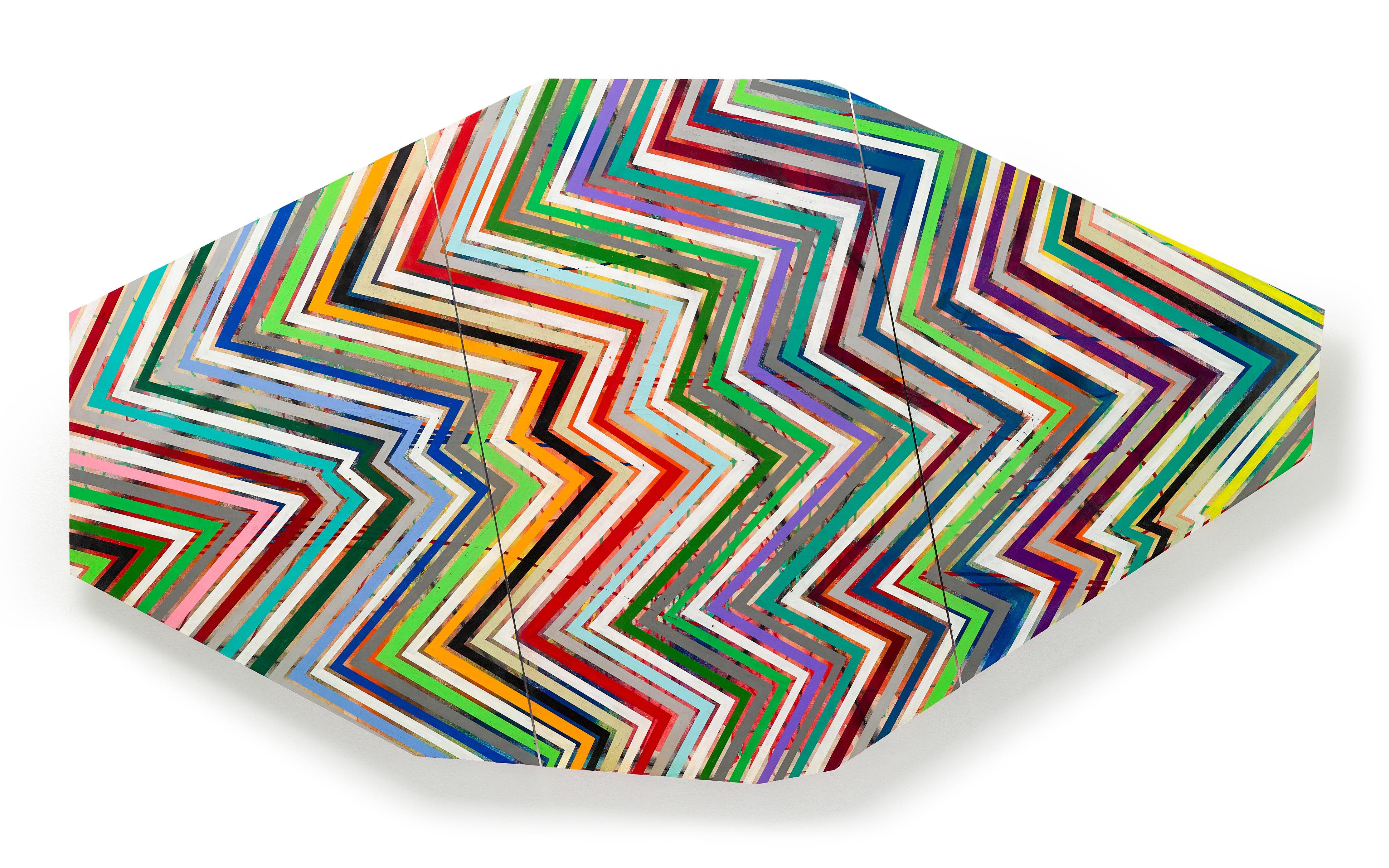 """Basati"" Triptych of colorful bold stripes on panel zig zagging"