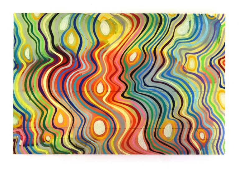 """""""Lost in the Light"""" Curvy colorful lines dance across the panel - Mixed Media Art by Robert Hitzig"""