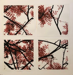 """The Vine Series - Fall"" - Grid of 4 photographs tinted in red sienna"