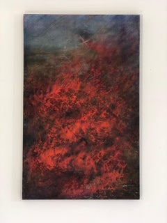 """""""Drone - from the Storm Series"""" Reds and blues on textured canvas with drone"""