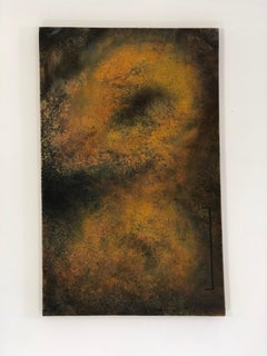 """""""Untitled from the ENSO Series"""" Orange and black particles create deep space"""