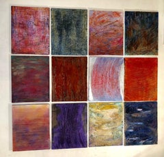 """Untitled - Orange waves"" 12 textured colorful paintings in grid or solo"