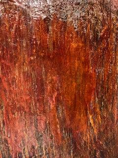 """Untitled - red lacquer""  Textured red lacquered painting for grid or solo"