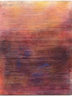 """Untitled - Pink Striped"" Textured colorful paintings in a grid or solo"