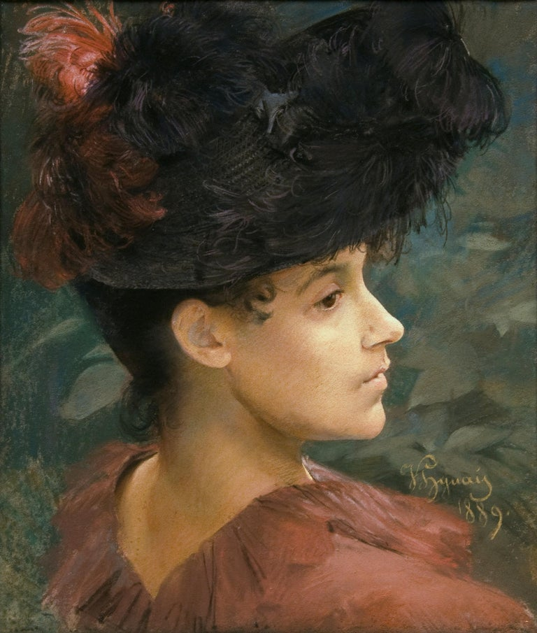Pastel Portrait of Victorian Woman with a Feathered Hat - Academic Art by Vojtech Hynais