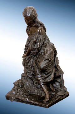 "19th Century Bronze Sculpture of Maiden, titled ""Virginie"""