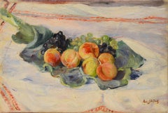 Impressionist still life painting of peaches and grapes, by Paule Gobillard