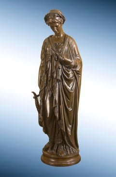 "Bronze Sculpture of Grecian Woman with Lyre, ""Meditative Sappho"""