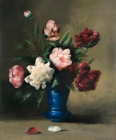 Floral Still-Life, Peonies in Blue