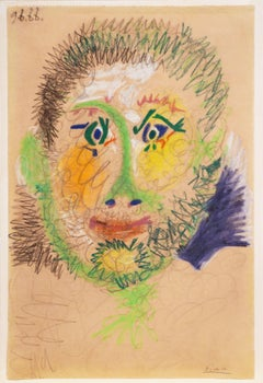 Original crayon drawing by Picasso, titled Tête d'homme (9 June 1966)