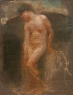 Italian pastel of a nude male by Francesco Paolo Michetti