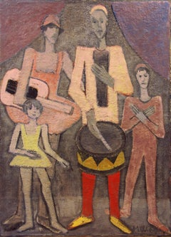 "Mid-Century modern cubist painting by Wagner, Titled ""The Jester Family"""