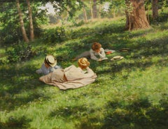 Ladies reading in a summer landscape, by Swedish artist, Johan Krouthen