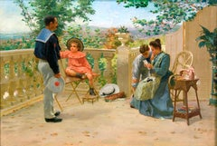 "Painting of a Sailor and his family on a terrace, titled ""Reading the Letter"""