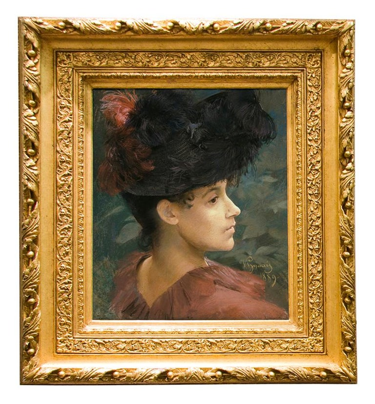 Pastel Portrait of Victorian Woman with a Feathered Hat - Art by Vojtech Hynais