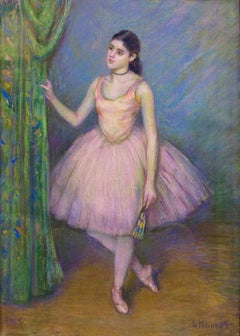 "Impressionist Ballerina Pastel, ""Dancer in Pink in front of Green Curtain"""