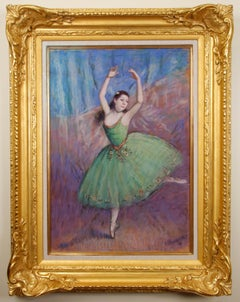 "Impressionist Ballerina Pastel on Canvas, ""Dancer in Green"""
