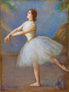 "Impressionist Ballerina Pastel on Canvas, ""Dancer in White"""