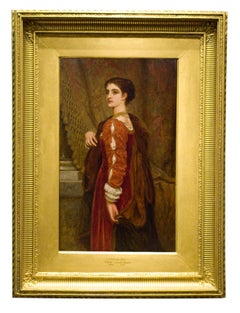 "Pre-Raphaelite Portrait of Woman in Red by Perugini, titled ""A Sideways Glance"""