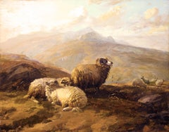 "19th Century Academic landscape, ""Highland Sheep"""