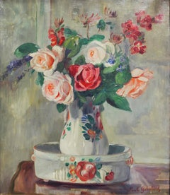 Impressionist still life painting of floral roses, by Paule Gobillard