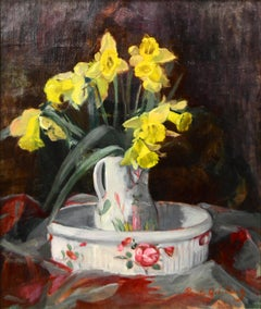 Impressionist still life painting of floral daffodils, by Paule Gobillard