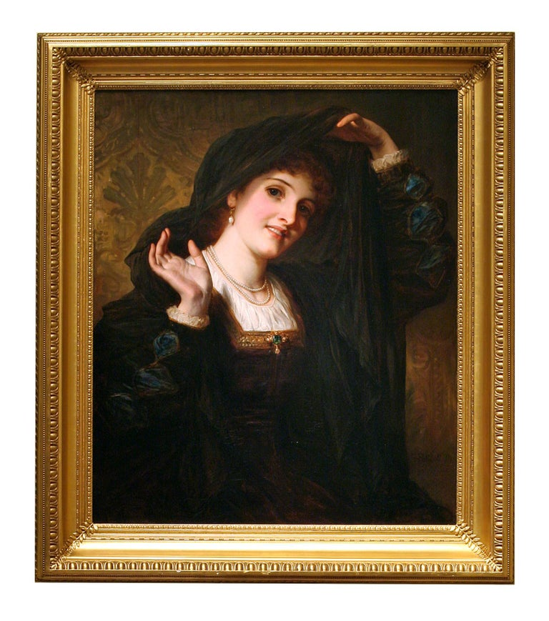 """Thomas Francis Dicksee Portrait Painting - 19th Century Painting, """"Olivia Unveiling to Viola"""" from Shakespeare's 12th Night"""