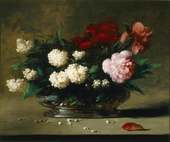 Floral Still-Life, A vase of Roses and Lilacs