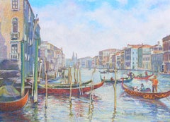 French Impressionist Landscape of Venice by H.C. Pissarro, titled Maison Foscari