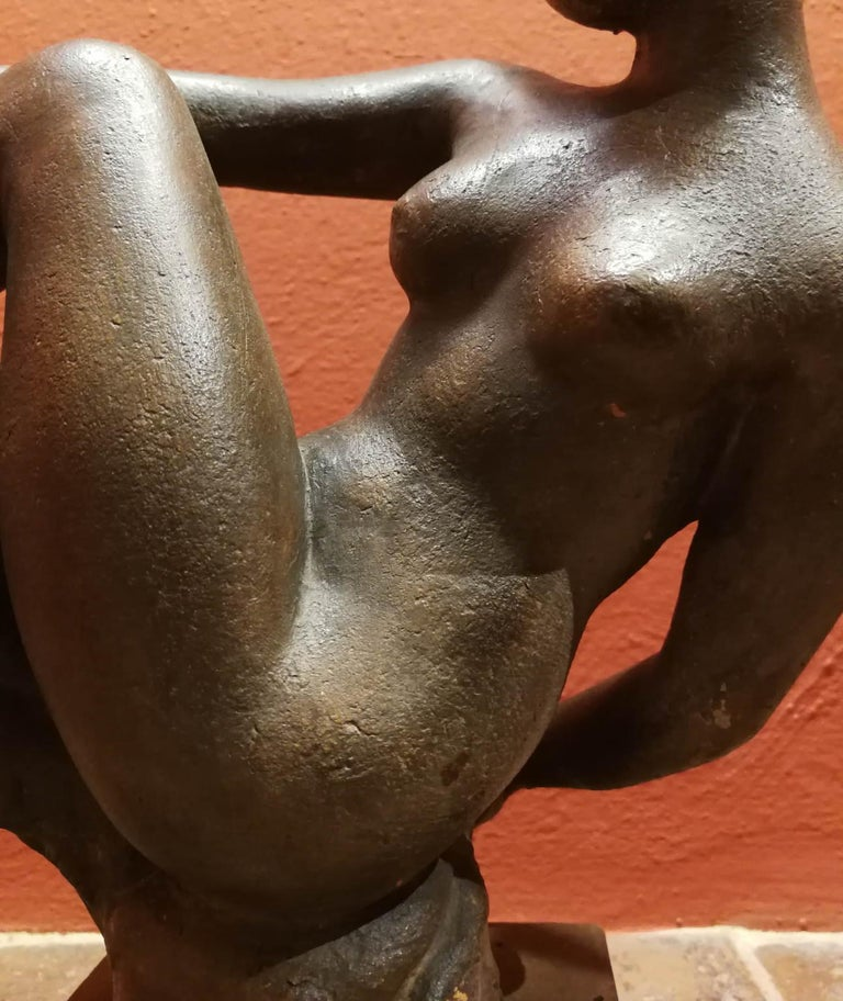 Quinto Martini, nude, first half of the 20th, terracotta, signed. - Sculpture by Quinto Martini