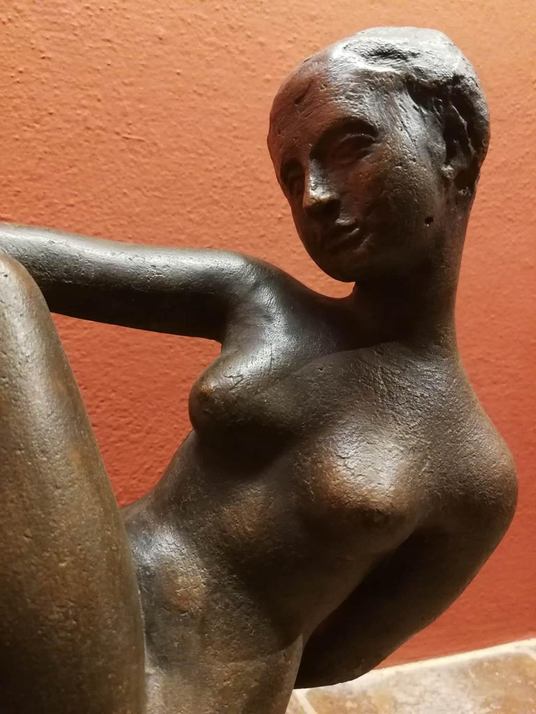 Quinto Martini, nude, first half of the 20th, terracotta, signed. - Brown Figurative Sculpture by Quinto Martini