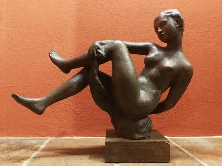 Quinto Martini, nude, first half of the 20th, terracotta, signed. - Other Art Style Sculpture by Quinto Martini